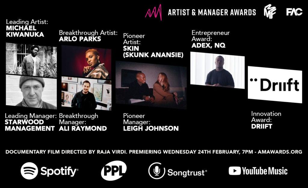 Artist and Manager Awards Film Winners Full Announce_V2